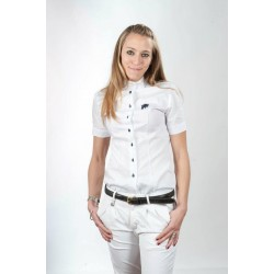 WHITE COMPETITION SHIRT WITH SHORT SLEEVES FOR WOMAN