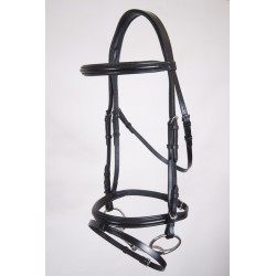 SNAFFLE BRIDLE WITH RUBBER REINS BLUES